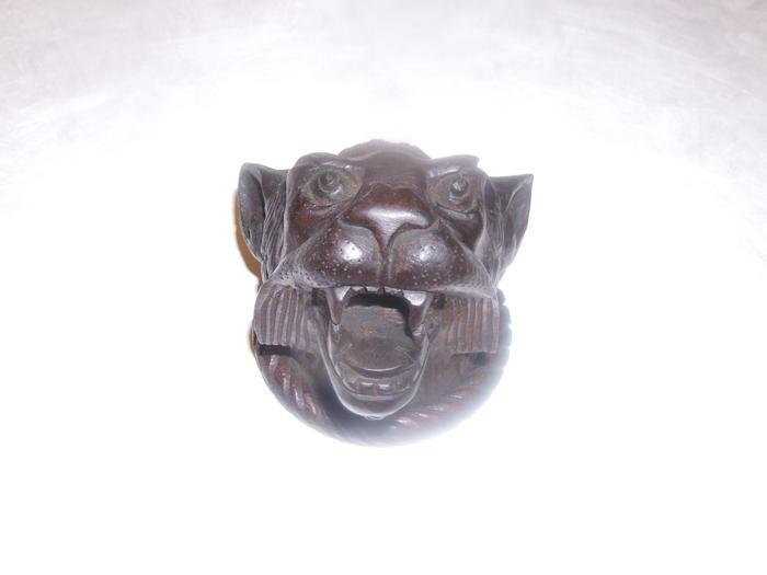 Carving, Wolf Head, Dark Wood