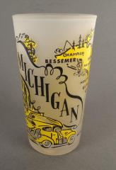 Frosted Souvenir Glass Or Tumbler, 'Michigan'