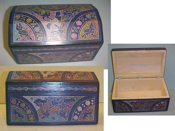 Mexican Wooden Guerrero Or Keepsake Box