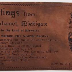 """Copper Postcard, """"Up Where the North Begins"""""""