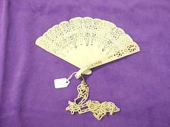 Fan, Small Ivory With Pierced Ivory Staves And Ivory Chain