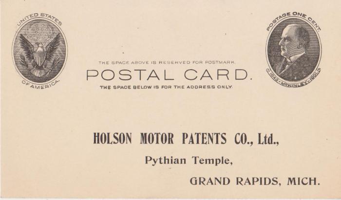 Postcard, Holson Motor Patents Co.