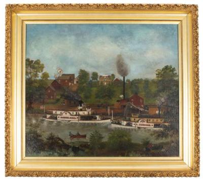 Oil Painting, Grand River in 1870 (Haire's Landing)