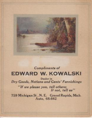 """Advertising Card,  Kowalski Dry Goods"""" With Needles"""""""