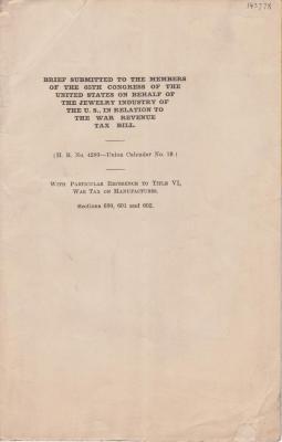 Document, War Revenue Tax Bill Brief