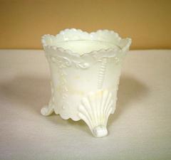 Sugar Bowl, No Lid, Daisy Pattern, Opaque White