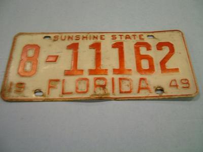 License Plate, Florida, 1949