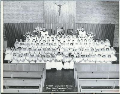 Reproduction Photograph, 1st Communion Class, Blessed Sacrament Church, May 2, 1964, John Arsulowicz, Jr. Archival Collection #135