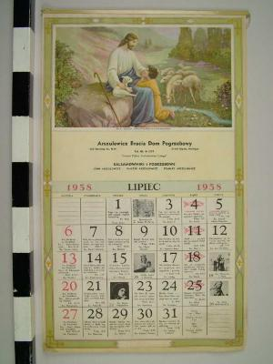 Reproduction Calendar, 1958, Polish Language John Arsulowicz, Jr. Archival Collection #135