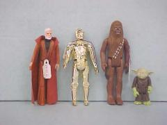 Four Star Wars Action Figures, Ben Obi-wan Kenobi, C-3po, Chewbacca, Yoda The Jedi Master