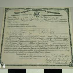 Reproduction Of Certificate Of Naturalization, John Oele, 1909, Archive Collection #59