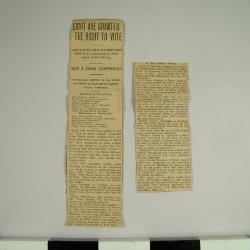 Reproduction Of Newspaper Article, Eight Are Granted The Right To Vote, Archive Collection #59