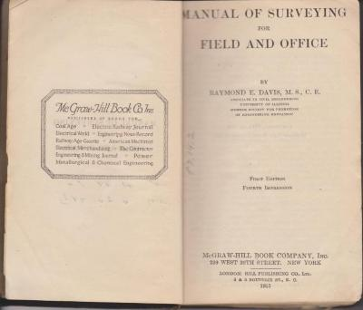 Book, 'manual For Surveying For Field And Office.'
