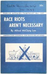 Pamphlet, Race Riots Aren't Necessary