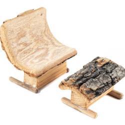 Miniature, 100% Wood Chair & Ottoman