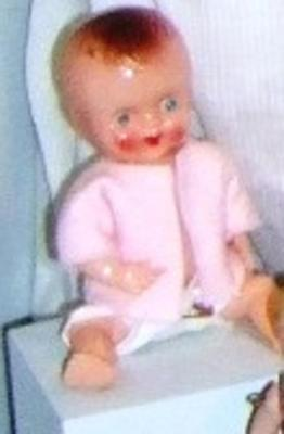 Celluloid Baby Doll In Pink Shirt And Diaper