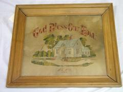 Needlework, Embroidery And Petit Point, 'god Bless Our Home'