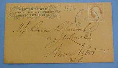 Cover, Envelope With Postage Stamp, Washington 3 Cent, U.S., Western Hotel
