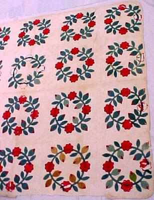 Quilt, Roses And Birds Pattern