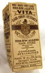 Bottles (2), Hair Dye, 'mrs. R. W. Allen's Vita Hair Color  Restorer'