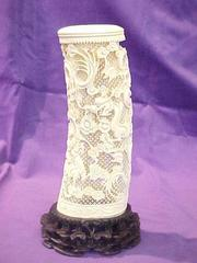 Pierced And Carved Ivory Tusk With Dragons, With Carved Stand (2  Pcs.)