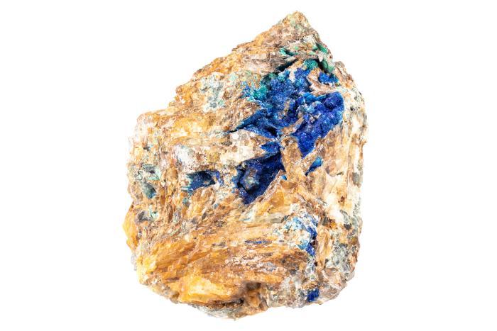 Azurite in Cerussite with Fluorite and Malachite