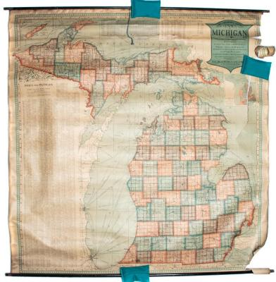 Map, 'scarborough's New Census Map Of Michigan ...'
