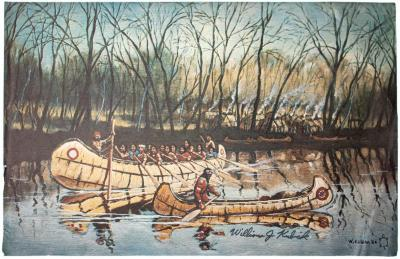 Picture, Color Print Of Indians In Canoes. Titled: 'Spring Rendezvous.'
