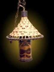 ORCHIDS BAMBOO CHINA HAT TIKI FACE LAMPS
