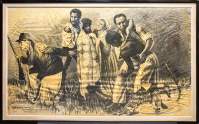 Drawing, Charcoal Study Sketch, Harriet Tubman's Underground  Railroad
