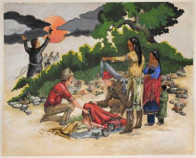 Painting, Anishinabe Man, Woman And Child With Two Traders,  Missionary In Background