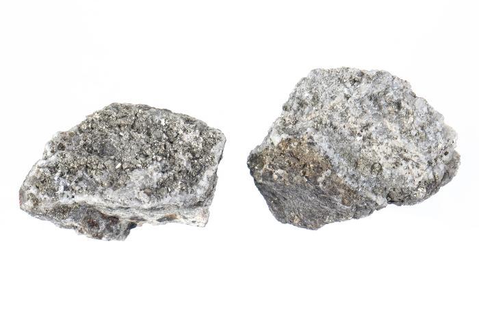 Pyrite, Chalcopyrite, and Bornite in Quartz