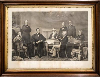 Print, Lithography, First Reading Of The Emancipation Proclamation  Before The Cabinets