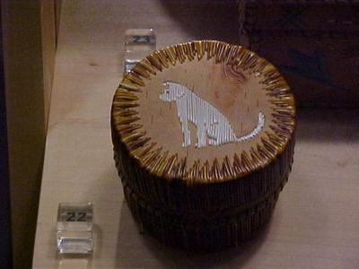 Round Birchbark And Quill Box, With Lid (dog On Top)