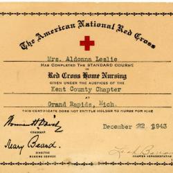 Certificate, Red Cross
