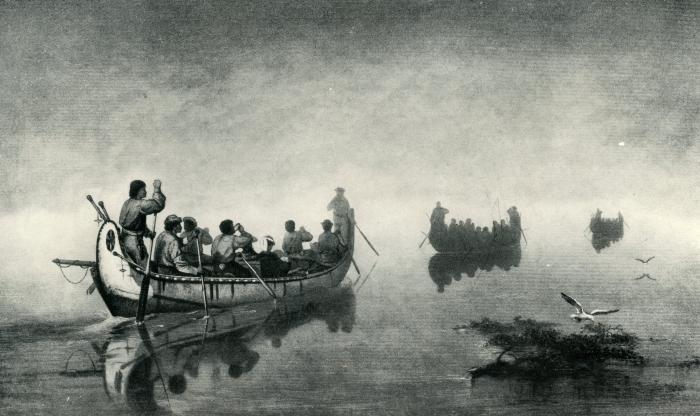"""Art Print, """"Canoes in a Fog, Lake Superior"""""""