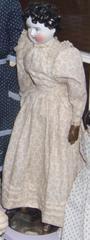 Glazed China Head Doll With Tan Cotton Print Dress