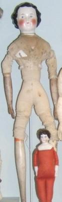 Glazed China Head Doll With Wood Arms And Legs