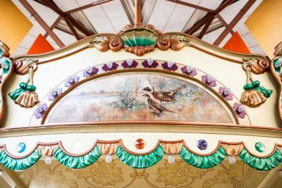Frieze Panel With Painting, Rooster And Hen Pheasants