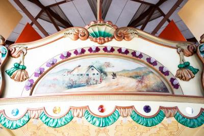 Frieze Panel With Painting, Cottage With Girl Waving To Man On  Horse