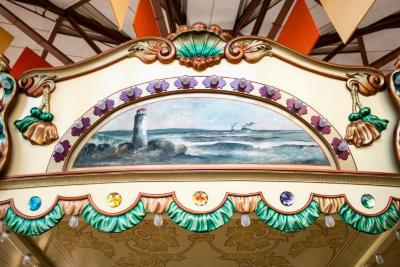 Frieze Panel With Painting, Beacon Light With Ships In Background