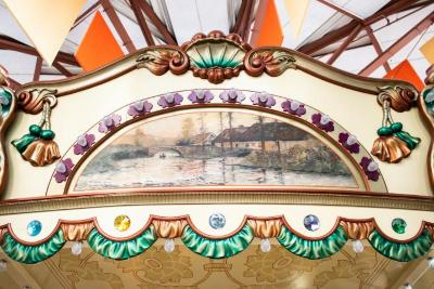 Frieze Panel With Painting, Canoe Going Under Bridge With Three  Cottages