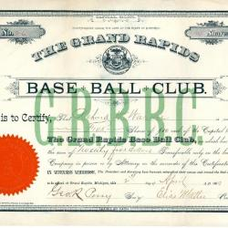 Stock Certificate, Grand Rapids Base Ball Club