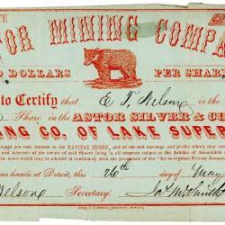 Stock Certificate, Astor Mining Company