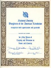 Certificate, Daughters of the American Revolution