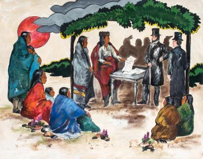 Painting, 'day Of The Tall Hats:'  Anishinabe Group At Treaty  Signing