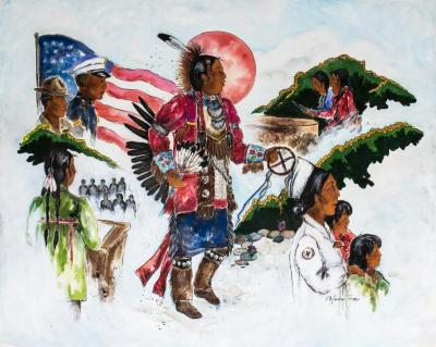Painting, 'the People Today:'  Montage Composition Of Anishinabe  People In Various Settings
