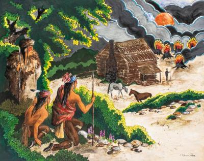 Painting, 'the Stranger:'  Three Anishinabe Men Looking At A  Cabin, Two Horses And A Man