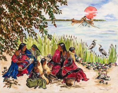 Painting, Anishinabe Women And Children Weaving Baskets