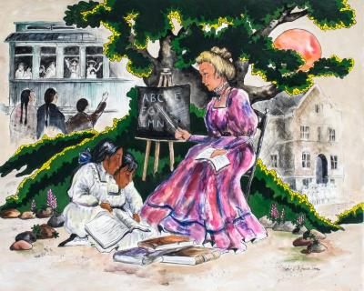 Painting, 'the Teacher:'  Two Anishinabe Girls At The Feet Of A  Non-indian Woman Teacher